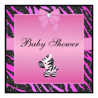 Falsa fiesta de bienvenida al bebé rosada del invitación 13,3 cm x 13,3cm