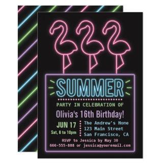 Falsa fiesta de cumpleaños de neón del verano invitación 11,4 x 15,8 cm