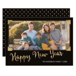 Falsa foto de la Feliz Año Nuevo del oro del marco Invitación 12,7 X 17,8 Cm
