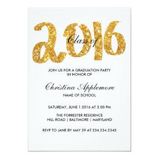 Falsa graduación 2016 de la tipografía del brillo invitación 12,7 x 17,8 cm