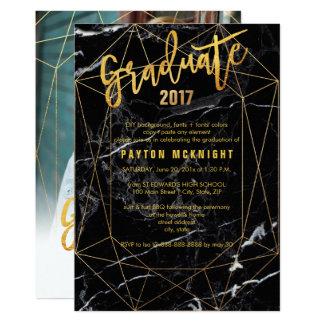 Falsa graduación del oro de PixDezines/de mármol Invitación 12,7 X 17,8 Cm