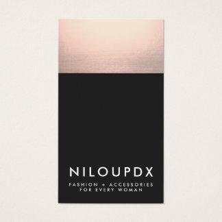 Falsa hoja de oro color de rosa fresca y moderno tarjeta de negocios