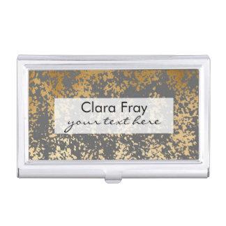 falsa hoja de oro elegante y pinceladas grises cajas de tarjetas de negocios