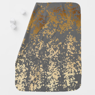 falsa hoja de oro elegante y pinceladas grises mantitas para bebé