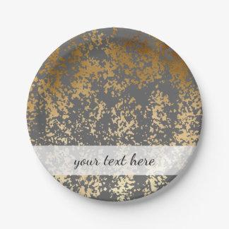 falsa hoja de oro elegante y pinceladas grises plato de papel