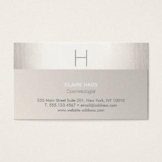 Falsa hoja de plata moderna elegante y monograma tarjeta de negocios