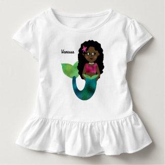 Falsa hoja personalizada de la sirena camiseta de bebé