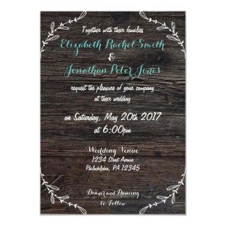 Falsa invitación de madera rústica del boda