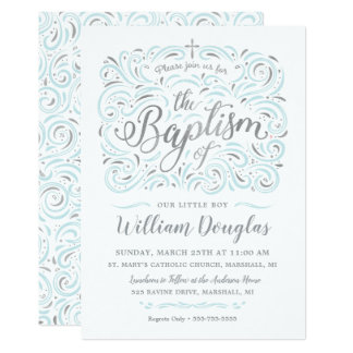 Falsa invitación de plata del bautismo del