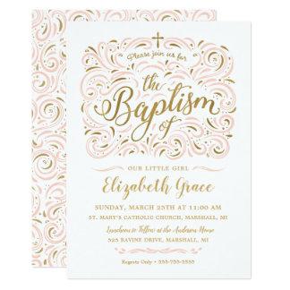 Falsa invitación del bautismo del chica del efecto