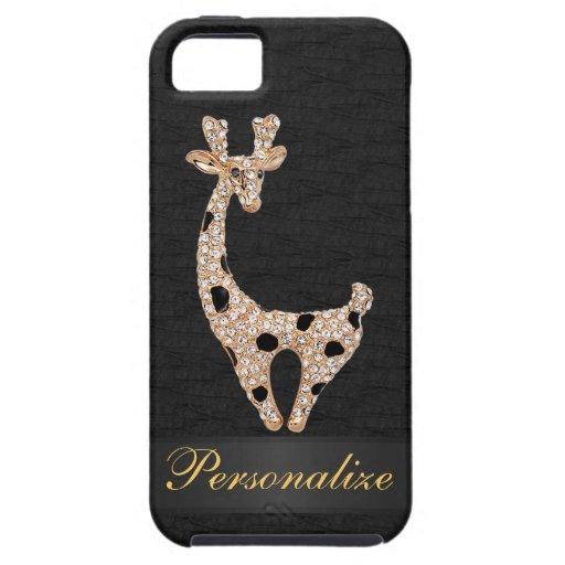 Falsa jirafa y diamantes del oro personalizados iPhone 5 protectores