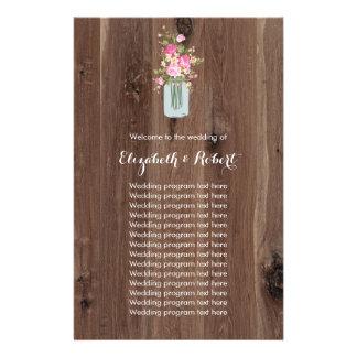 Falsa madera con rosa del tarro de albañil de la flyer