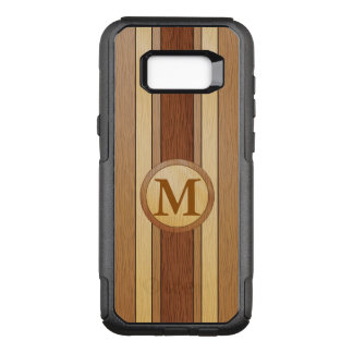 Falsa madera IMPRESA con monograma Funda Otterbox Commuter Para Samsung Galaxy S8+