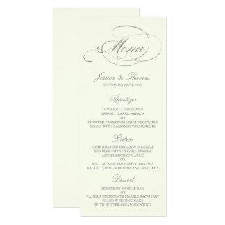 Falsa marfil elegante de la plantilla del menú del invitación 10,1 x 23,5 cm