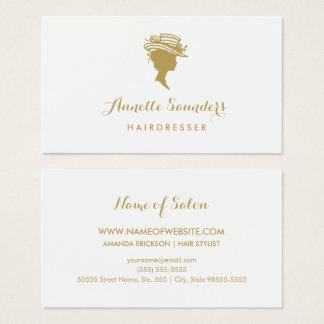 Falsa mujer del oro del peluquero elegante en tarjeta de negocios