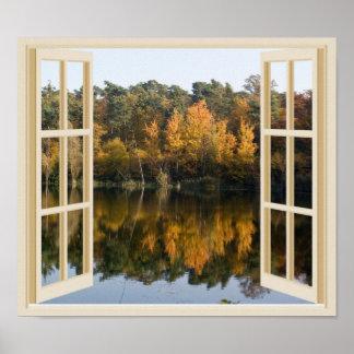 Falsa opinión de la ventana del lago reflexivo póster