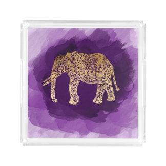 falsa pincelada tribal de la púrpura del elefante bandeja acrílica