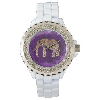 falsa pincelada tribal de la púrpura del elefante reloj de pulsera