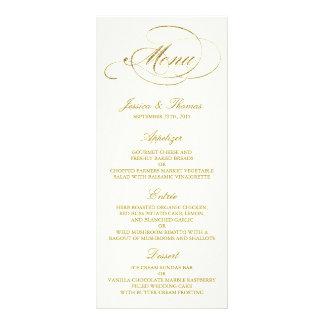 Falsa plantilla elegante del menú del boda de la