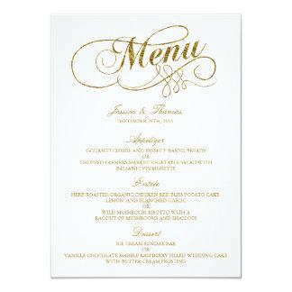 Falsa plantilla elegante del menú del boda de la invitación 11,4 x 15,8 cm