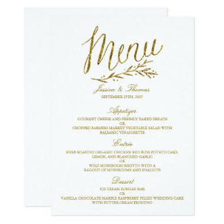 Falsa plantilla elegante del menú del boda del