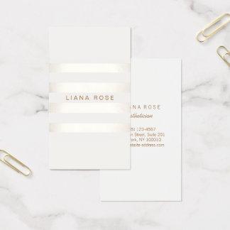FALSA plata simple elegante y blanco rayados Tarjeta De Visita