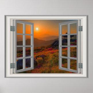 Falsa puesta del sol del otoño de la opinión de la póster