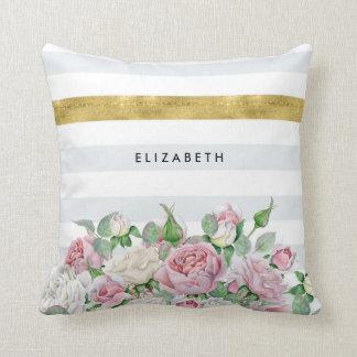 FALSA raya elegante del oro con los rosas rosados Cojín Decorativo