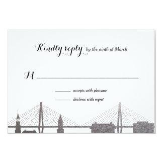 Falsa RSVP tarjeta de plata de Charleston Carolina Invitación 8,9 X 12,7 Cm