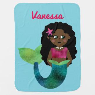 Falsa sirena afroamericana personalizada de la mantita para bebé