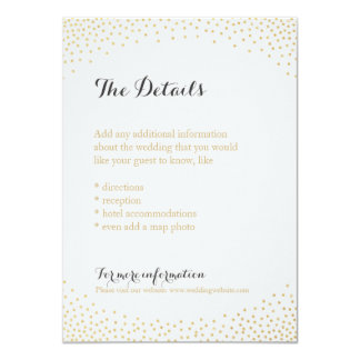 Falsa tarjeta de detalle Editable del confeti del Invitación 11,4 X 15,8 Cm