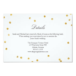 Falsa tarjeta de detalles del boda del confeti de invitación 8,9 x 12,7 cm