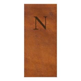 Falsa textura del cuero de Brown Tarjeta Publicitaria