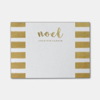 Falsa tipografía y rayas del navidad del oro de notas post-it®