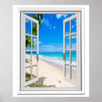 Falsa ventana de la vista al mar tropical de la póster