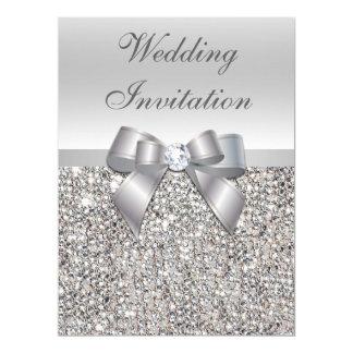 Falsas invitaciones de plata del arco de las invitación 16,5 x 22,2 cm