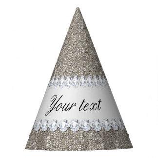 Falsas lentejuelas de plata y diamantes gorro de fiesta