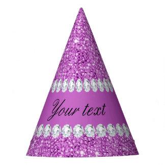 Falsas lentejuelas púrpuras elegantes y diamantes gorro de fiesta
