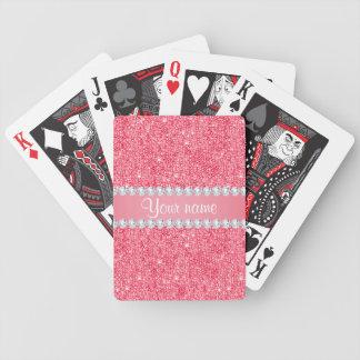 Falsas lentejuelas rosadas y diamantes baraja de cartas bicycle