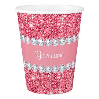 Falsas lentejuelas rosadas y diamantes vaso de papel