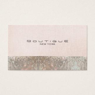 Falsas lentejuelas y boutique elegante rosado tarjeta de negocios