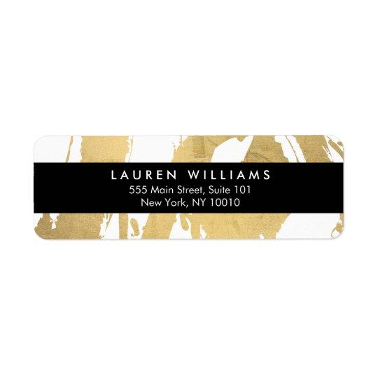 Falsas pinceladas abstractas del oro en blanco etiqueta de remite