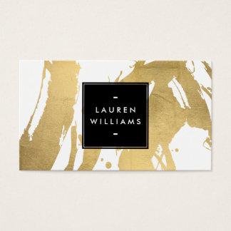 Falsas pinceladas abstractas del oro en blanco tarjeta de negocios