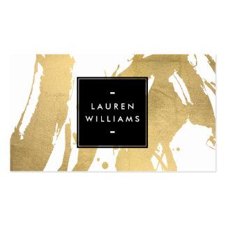 Falsas pinceladas abstractas del oro en blanco tarjetas de visita