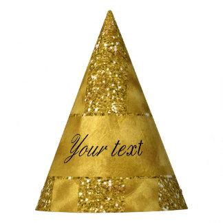 Falsas rayas del brillo del oro en hoja de oro gorro de fiesta
