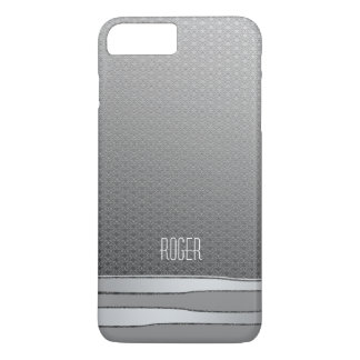 Falsas rayas masculinas de los gris plateados de funda iPhone 7 plus
