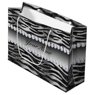 Falsas rayas negras de la cebra del efecto bolsa de regalo grande