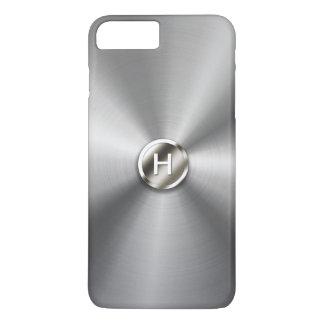 Falso acero inoxidable del botón Geeky del metal Funda iPhone 7 Plus