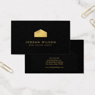 Falso agente inmobiliario negro elegante de la tarjeta de negocios
