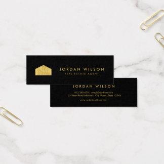 Falso agente inmobiliario negro elegante de la tarjeta de visita mini